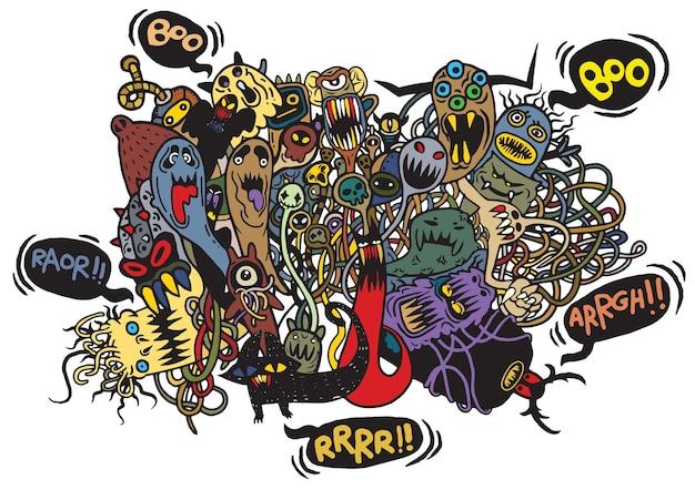 Satz hand gezeichnetes wütendes hässliches monster. halloween.monster kritzeleien