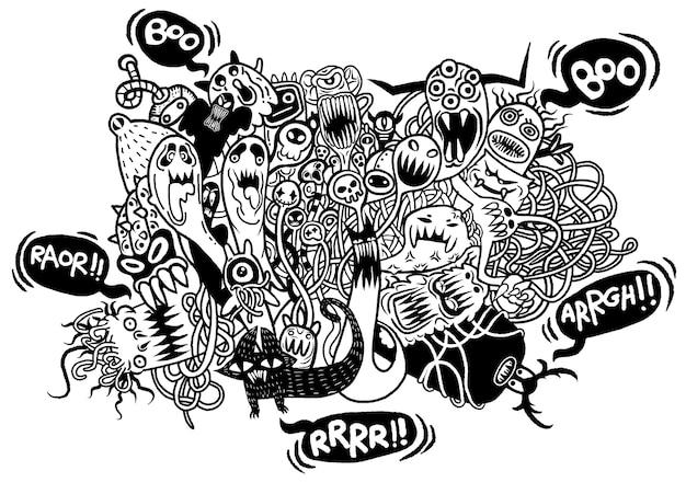 Satz hand gezeichnetes wütendes hässliches monster
