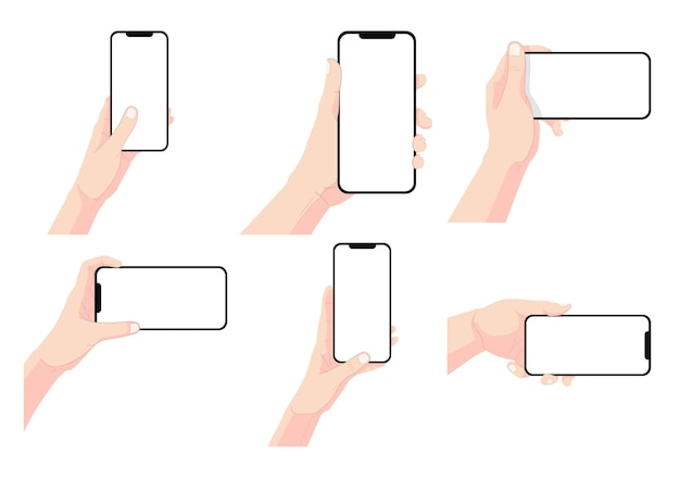 Satz hand hält smartphone mit leerem bildschirm