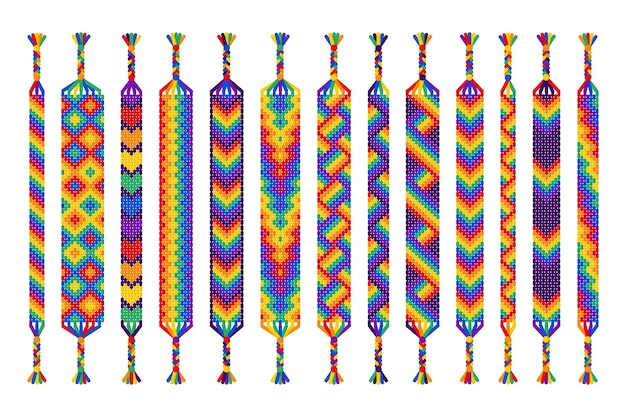 Satz handgemachte freundschaftsbänder der fäden lokalisiert auf weißem hintergrund. pride parade, lgbt und freie liebe.