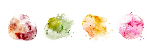 Satz handgemalte aquarellkreise bunte verschiedene formen, aquarell-spritzfleck