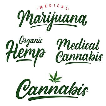 Satz handgeschriebene beschriftung cannabis-logos.