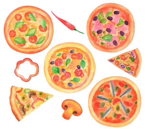 Satz handgezeichnete aquarelle verschiedene arten von pizza.