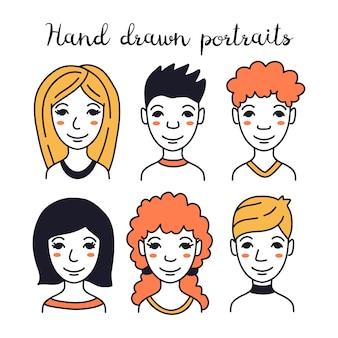 Satz handgezeichnete avatare verschiedener menschen