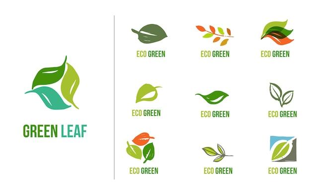 Satz handgezeichnete blätterlogos, grünes blatt, skizzen und kritzeleien von blatt und pflanzen, grüne blättervektorsammlung