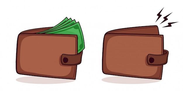 Satz handgezeichnete brieftasche