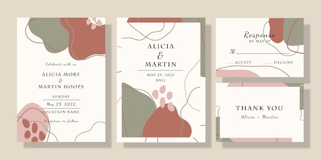 Satz handgezeichnete form hochzeitseinladungskarte