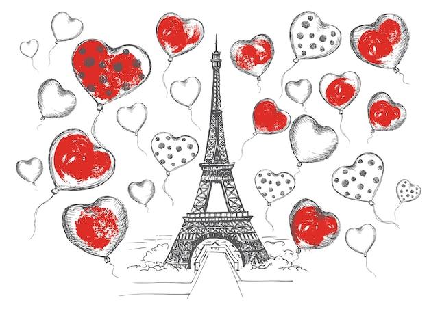Satz handgezeichnete französische ikonen paris skizzenillustration herzballons handgezeichnete illustration