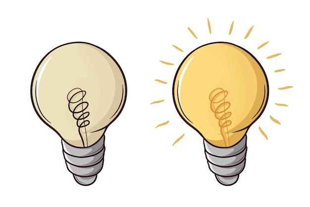 Satz handgezeichnete glühbirne