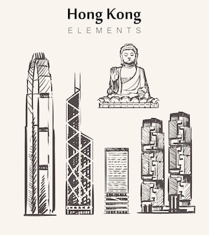 Satz handgezeichnete hong kong gebäude. hong kong elemente skizzieren illustration. big buddha, internationales finanzzentrum, bank of china, lippo tower.
