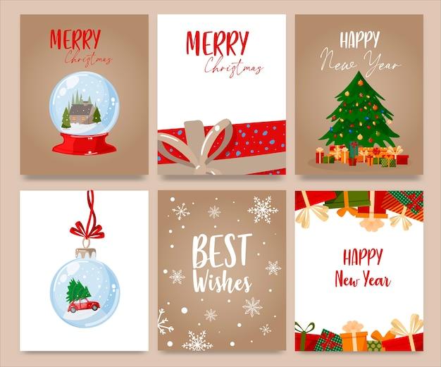 Satz handgezeichnete karussellkarten der frohen weihnachten