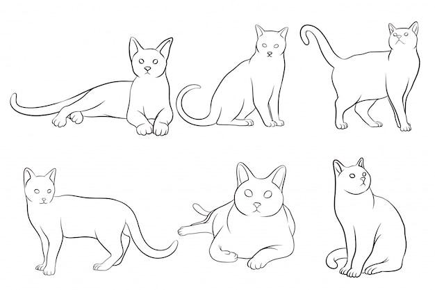 Satz handgezeichnete katzen