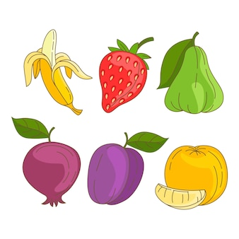 Satz handgezeichnete köstliche früchte