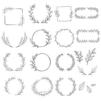 Satz handgezeichnete kränze für dekoration oder hochzeitseinladung