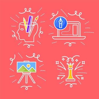 Satz handgezeichnete kreativitätskritzeleien