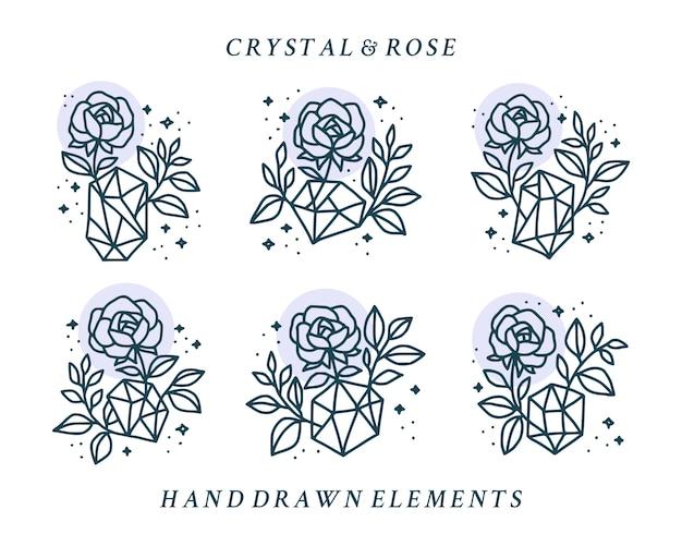 Satz handgezeichnete kristall- und botanische rosenblumenlogoelemente