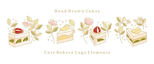 Satz handgezeichnete kuchen