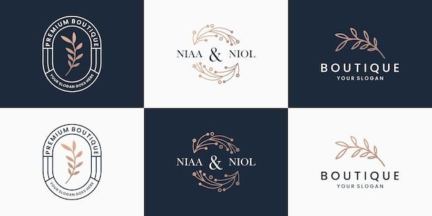 Satz handgezeichnete logos. vintage-emblem für beauty-minimalist-logo-vorlage.