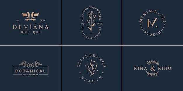 Satz handgezeichnete logos. vintage emblem für schönheit minimalistische logo-vorlage.