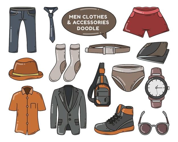 Satz handgezeichnete männerkleidung und zubehörkarikaturkritzeleien