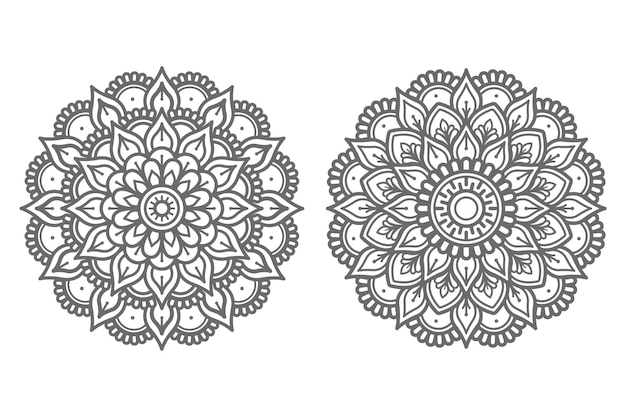 Satz handgezeichnete mandala-illustration