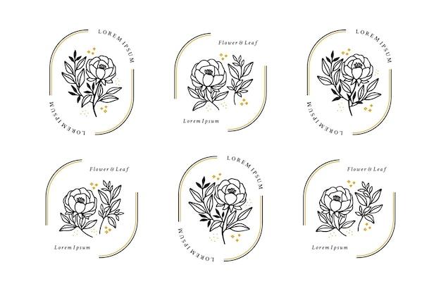 Satz handgezeichnete minimalistische rosenblumen-, pfingstrosen- und blattlogoelemente