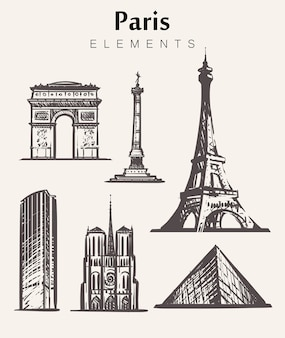 Satz handgezeichnete pariser gebäude. paris-elemente skizzieren illustration. eiffelturm triumphbogen, notre dame, place de la bastille, montparnasse-turm.
