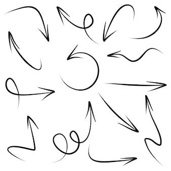 Satz handgezeichnete pfeile. doodle design-elemente.
