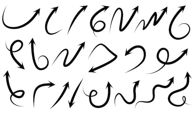 Satz handgezeichnete pfeile