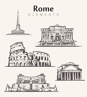Satz handgezeichnete rom-gebäude. rom-elemente skizzieren illustration. kolosseum, pantheon, vittoriano, trevi-brunnen.