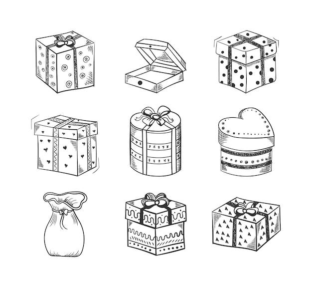 Satz handgezeichnete skizzen der geschenkbox, verziert mit schleifen, bändern und perlen. kritzeln sie haufen von geschenkboxen, um grußkarten für neujahr, weihnachten, geburtstag zu entwerfen. vektorillustration, eps 10.
