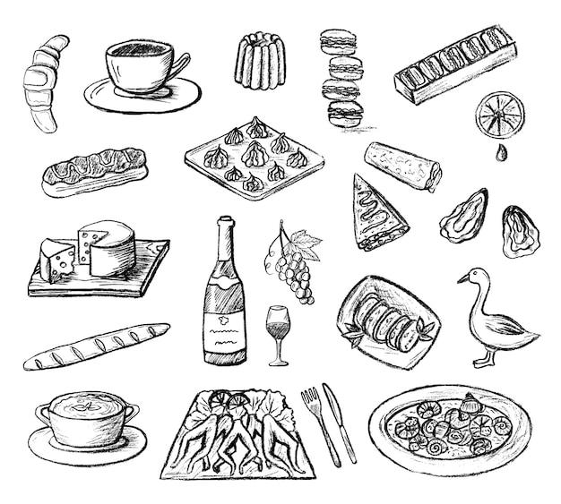 Satz handgezeichnete skizzierte französische küche symbole doodle holzkohle-essen
