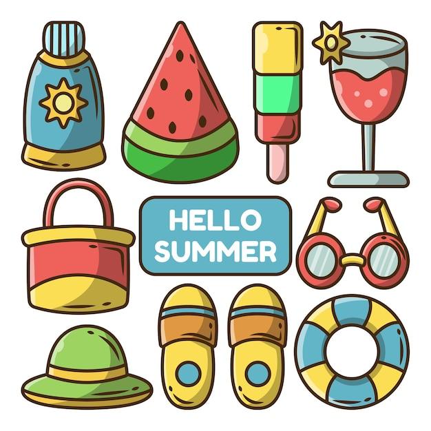 Satz handgezeichnete sommerartikel cartoon doodle bundle