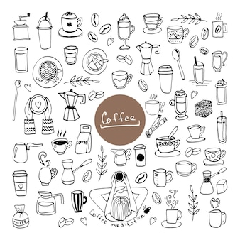 Satz handgezeichnete tassen kaffee, schokolade, kakao oder cappuccino, zucker, kaffeemaschinen und bohnen.