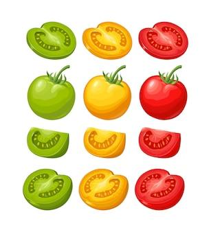 Satz handgezeichnete tomaten isoliert auf weißem hintergrund. zweig, ganz, halb und in scheiben schneiden. flache vektorfarbillustration. handgezeichnetes gestaltungselement für etikett und poster