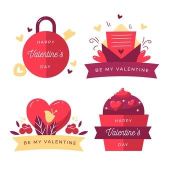 Satz handgezeichnete valentinstagabzeichen