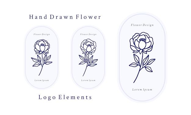 Satz handgezeichnete vintage botanische rosenblume, pfingstrose und blattzweigelemente für weibliches logo und schönheitsmarke