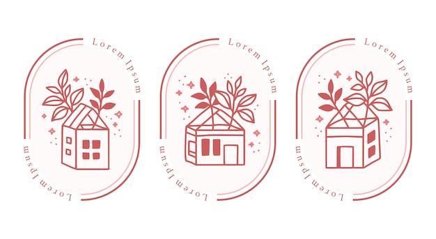 Satz handgezeichnete vintage-haus und botanische rose für feminine schönheit logo-element