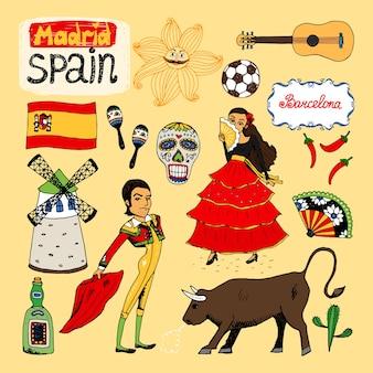 Satz handgezeichnete wahrzeichen und symbole von spanien
