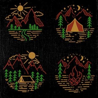 Satz handgezeichnete wander- und tourismusembleme. element für logo, poster, karte, emblem, druck. bild