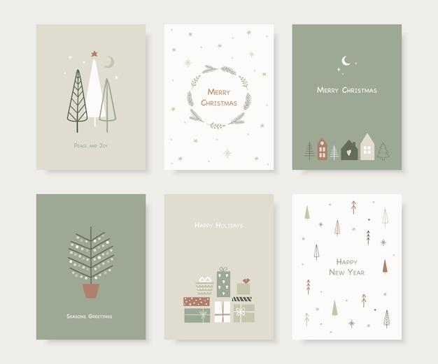 Satz handgezeichnete weihnachtsgrußkarten