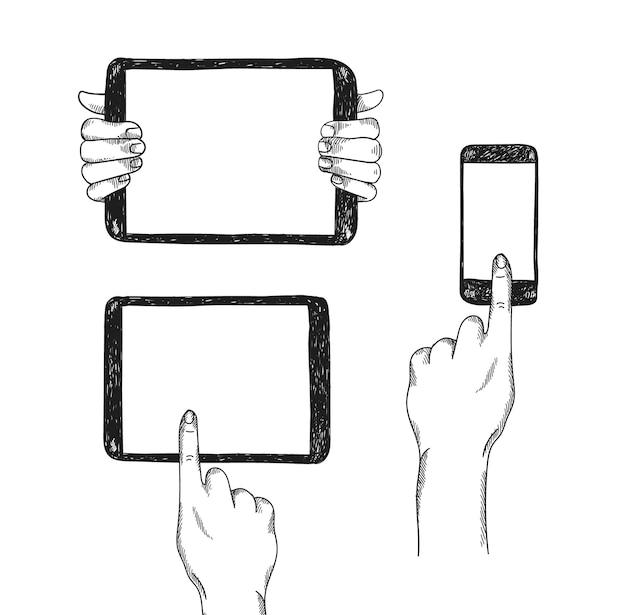 Satz handgezeichneter geräte mit den händen. mock-up-illustrationen. tablet pc und telefon mit berührenden und haltenden händen.