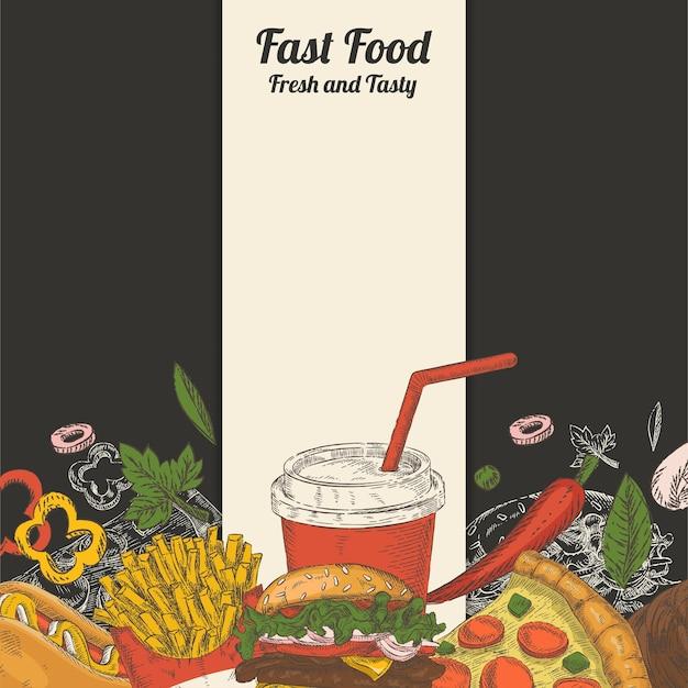 Satz handgezeichnetes fast food