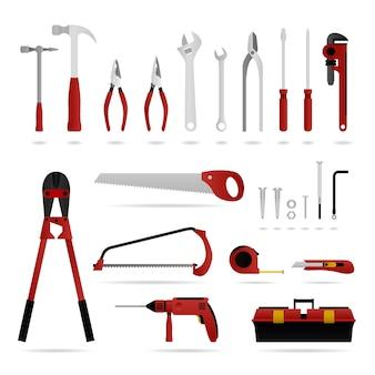 Satz hardware-tool. eine reihe von hardware-tools, die für schreiner, elektriker und klempner geeignet sind.