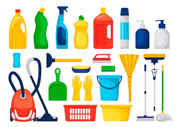Satz haushaltswaren und reinigungsmittel