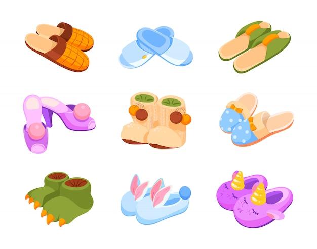Satz hausschuhe, isolierte zeichnung. verschiedene hausschuhe: weiblich, männlich, lustig, hotel, in form von tieren. kinder niedliche hausschuhe in form eines einhorns, eines dinosauriers und eines kaninchens.