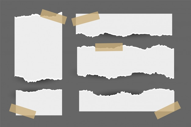 Satz heftige zerrissene papierblätter mit aufkleber