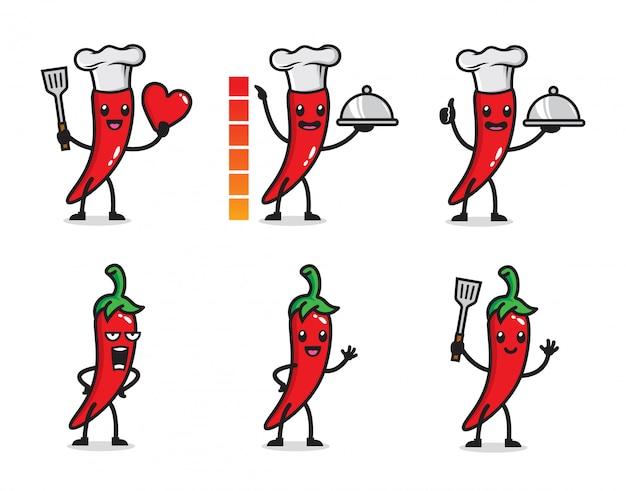 Satz heißes chili-charakterdesign