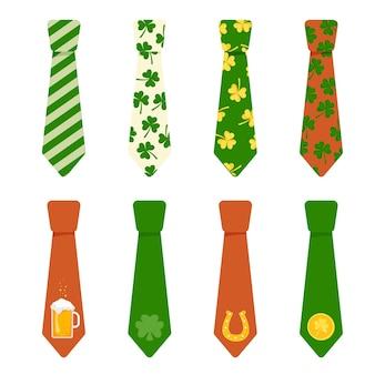 Satz helle krawatten verziert mit elementen für den feiertag des st. patricks day. vektor-illustration.