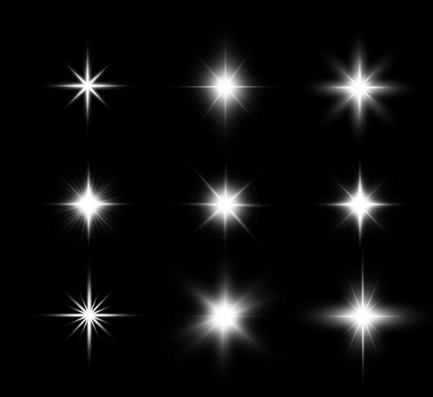 Satz helle schöne sterne funkelnde schöne lichtgrafiken.
